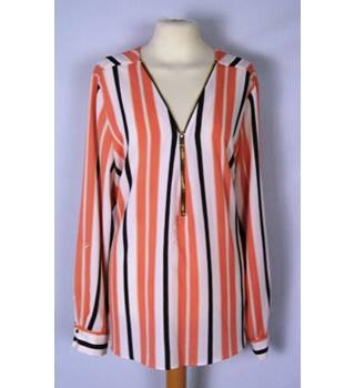 River Island - Size: 18 - Cream, Pink and Black Vertically Striped Blouse