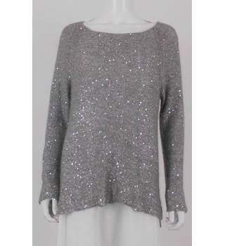 Phase Eight Size M Fossil Grey Sequin Jumper