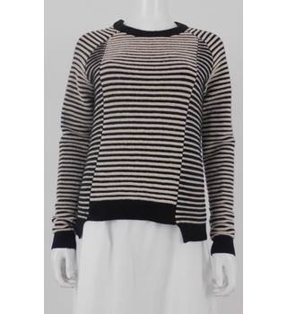 Whistles Size 10 Black and White Striped Wool Blend Jumper