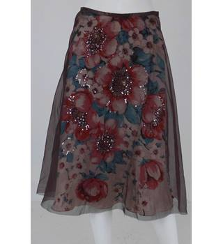 Monsoon Size 8 Multi Coloured Bias Cut Flared Skirt