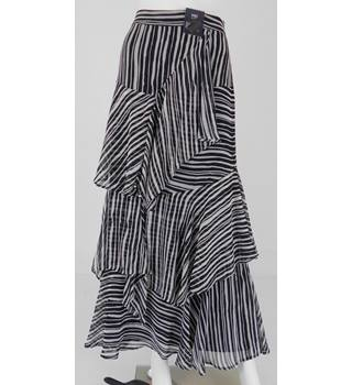M&S Size 14 Black and White Striped Layered Skirt
