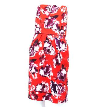 Coast - Size 12 - Red Floral Print Strapless Dress