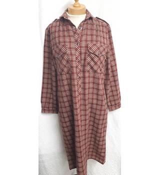 Lady Capricorn - Size: 12 - Brown/Burgundy Red Chequered - Long Dress