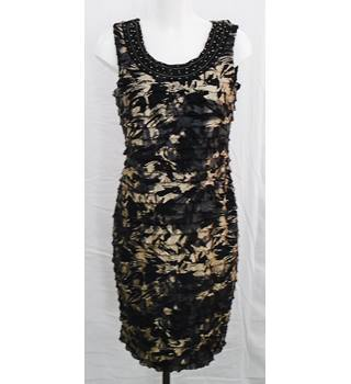 Frank Lyman, size 12, black and gold frilled dress
