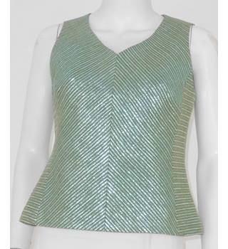 Luis Civit Size 12 Mint Metallic Striped Top