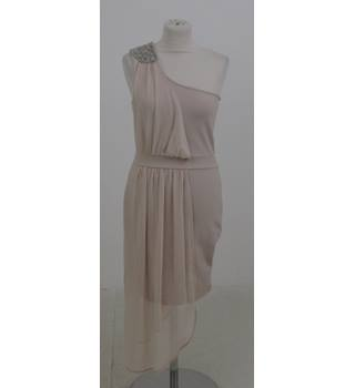 Miss Selfridge: Size 10: Nude one shoulder body-con dress with sheer side panel