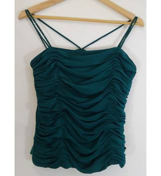 Monsoon - Size: 12 - Dark Jade Green - Ruched Spaghetti Strap Top