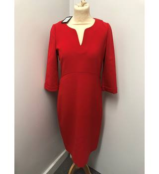 BNWT Jaeger Curved Seam Shift Dress, Scarlet Red size 10 Jaeger - Size: 10 - Red - Knee length dress