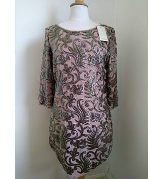 BNWT Monsoon Size 12 Mink Pink with Glitzy Fern Pattern Dress