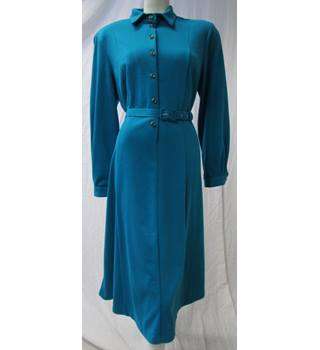 Vintage Unbranded Size: M - Aqua Blue With Stylish Buttons Dress