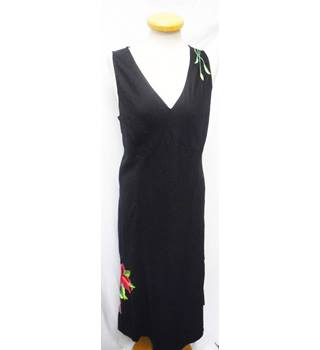 Monsoon - Size: 16 - Black with Pink and Green Floral - Sleeveless Dress