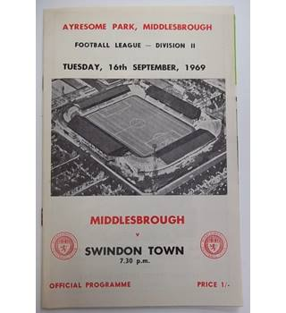 Middlesbrough v Swindon Town. 16th September 1969