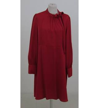 M&S Size:18 rich red long-sleeved dress