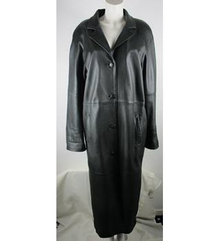 La Confidence Long Black Leather Coat La Confidence - Size: M - Black