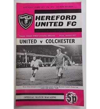 Hereford United v Colchester. 17th February 1973