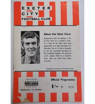 Exeter City v Swansea. 1st October 1969