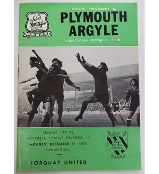 Plymouth Argyle v Torquay United. 27th December 1971