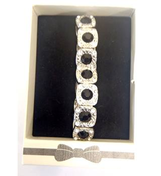 Bracelet, silver coloured metal pieces with black stones surrounded with clear stones Emporium - Size: Medium - Metallics