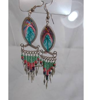 Faux Peacock hanging earrings for pierced ears