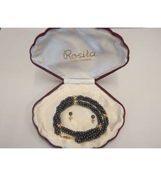 Rosita box with grey, white, and gold pearl necklace and earrings Rosita - Size: Medium - Metallics - Necklace