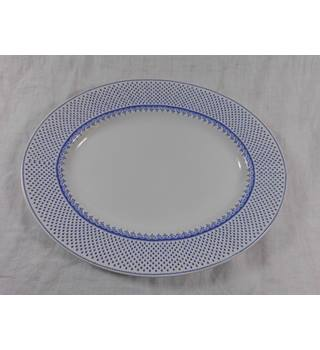 St Louis English Ironstone Large Serving Platter Blue and White Franciscan