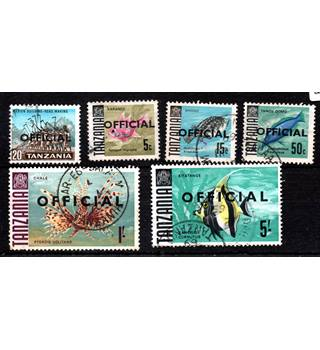 Selection of Tanzania official overprints. 6 different values, all fine used [cat value £35]