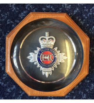 H.M.P Prison Service Silver Badge Glass Wooden Paperweight