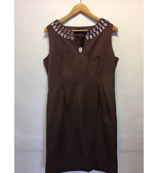 Jeweled  trimmed cotton dress principles Principles - Brown