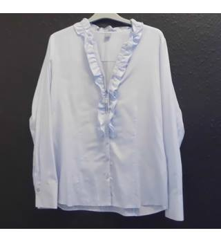 ERFO frill front shirt - Size: L - Blue