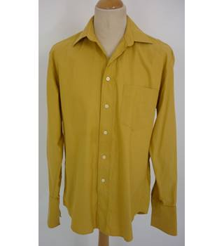 "Christian Dior  Size: M, 40"" chest, 15.5"" Collar Golden Jacquard Weave Pinstripes Casual Cotton Long Sleeved Designer Shirt"