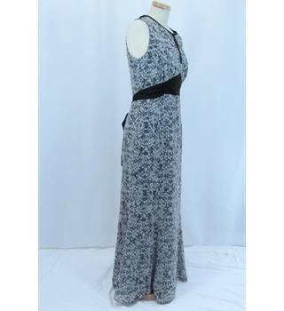 Long Sleeveless Black and White Patterned Dress from Ossie Clark in UK size 12