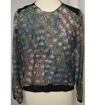 Like A Bird Floral / black trim top, size 38 Like A Bird - Size: 14 - Multi-coloured - Blouse