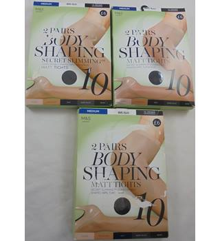 M&S Marks & Spencer - Size: M: 3 New Packs Nearly Black 10 Denier Tights