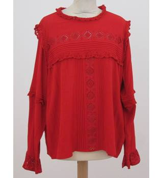 NWOT: M&S Size 18: Red frilled cuffs & neck blouse