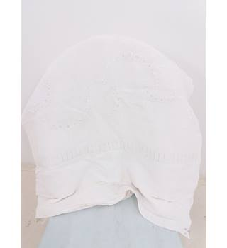 Antique White Bed Sheet With Embroidery Detail & Monogram