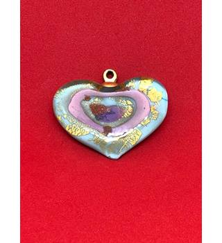 Light Blue Pendant with Gold & Pink Speckles
