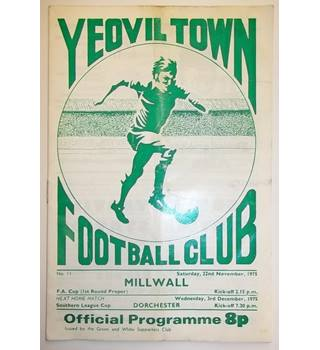 Yeovil Town v Millwall. 22nd November 1975. FA Cup
