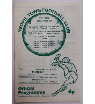 Yeovil Town v Orient. 5th March 1975