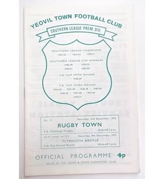 Yeovil Town v Rugby Town. 2nd December 1972