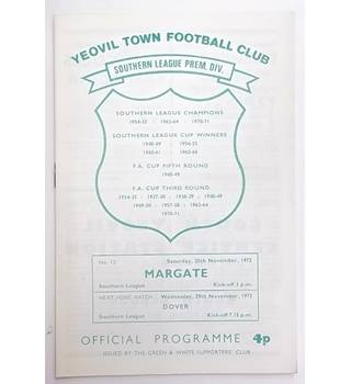 Yeovil Town v Margate. 25th November 1972
