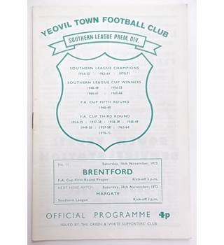 Yeovil Town v Brentford. 18th November 1972