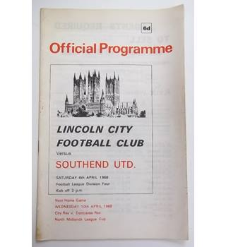 Lincoln City v Southend United. 6th April 1968