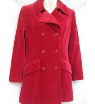 Pied a Terre Red velvet 3/4 length coat - Size: 10