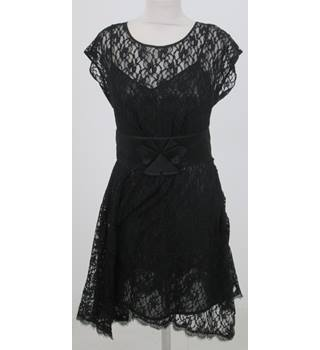 Warehouse: Size 12: Black lace dress with sequined under slip