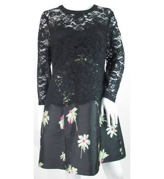 ASOS - Size: 16 - Black with green floral and lace bodice dress