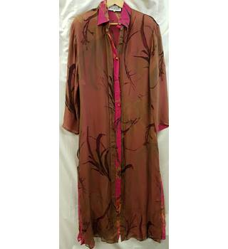 Gianfranco Ferre, size 12 bronze and pink patterned long over silk shirt/jacket