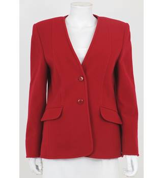 Vintage 1980's Cashmere & Wool Blend Size 14 Pillar Box Red Jacket