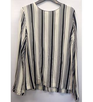 Swing Blouse, round neck, long sleeved, cream and black vertical stripes, Second Woman - Size: L
