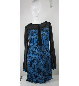 French Connection - Blue/Black - Knee Length Dress - Approximate Size: 10