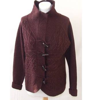 Fat Face, size 14 Burgundy Wool Cardigan
